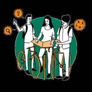 picto jeux de pistes à vélo défi cocyclette